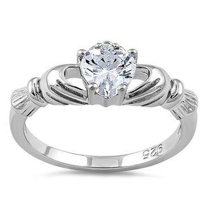 Sterling Silver Claddagh Clear CZ Ring