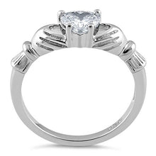 Load image into Gallery viewer, Sterling Silver Claddagh Clear CZ Ring