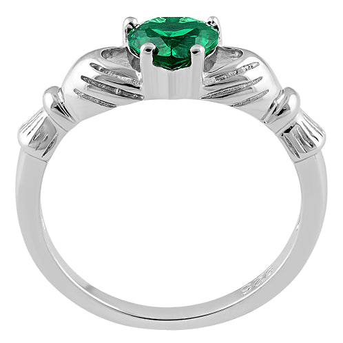 Sterling Silver Claddagh Emerald CZ Ring