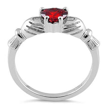 Load image into Gallery viewer, Sterling Silver Claddagh Garnet CZ Ring