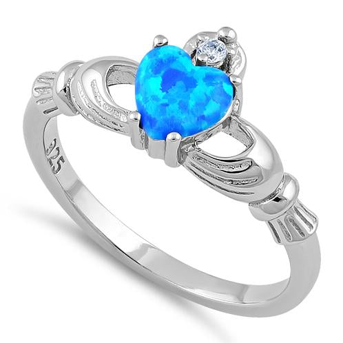 Sterling Silver Claddagh Lab Opal CZ Ring
