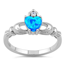 Load image into Gallery viewer, Sterling Silver Claddagh Lab Opal CZ Ring