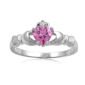 Sterling Silver Claddagh Pink CZ Ring