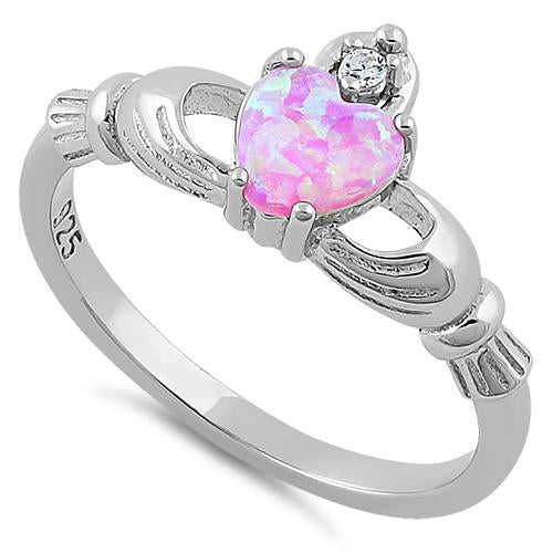 Sterling Silver Claddagh Pink Lab Opal CZ Ring