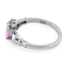 Load image into Gallery viewer, Sterling Silver Claddagh Pink Lab Opal CZ Ring