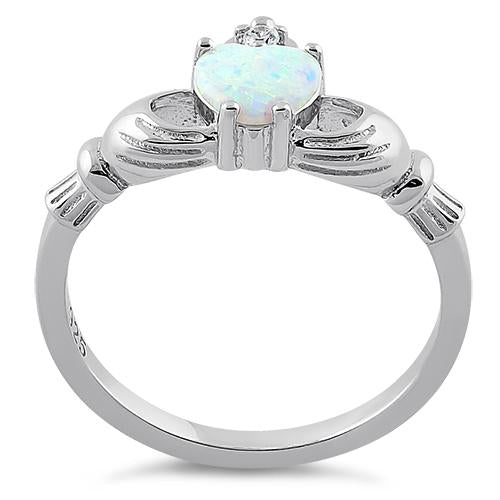 Sterling Silver Claddagh White Lab Opal CZ Ring
