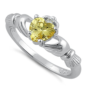 Sterling Silver Claddagh Yellow CZ Ring