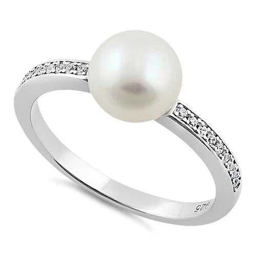 Sterling Silver Classic Synthetic Pearl Round Clear CZ Ring