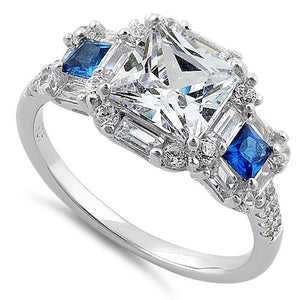 Sterling Silver Classic Princess Emerald & Round Cut Clear & Blue Spinel CZ Ring