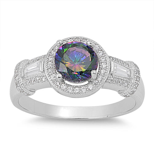Sterling Silver Classic Rainbow Topaz Halo CZ Ring