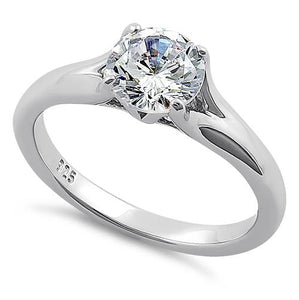 Sterling Silver Classic Round Cut Clear CZ Ring