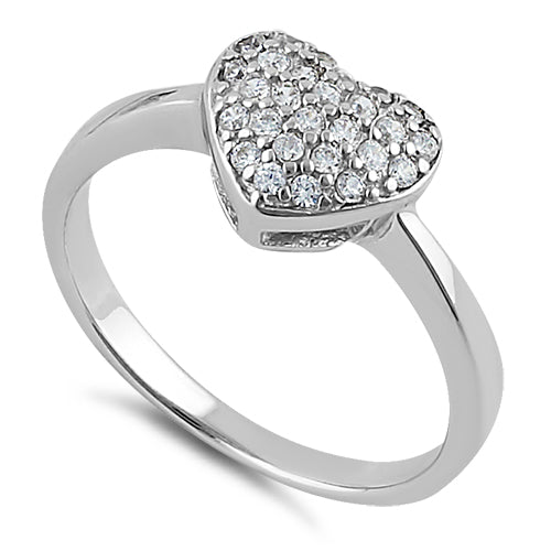 Sterling Silver Clear CZ Heart Shape Ring
