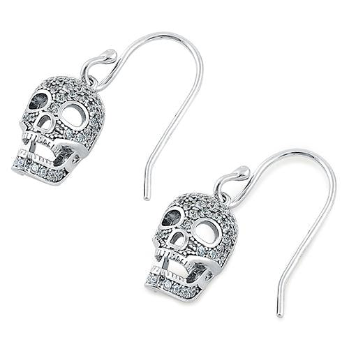 Sterling Silver Clear CZ Skull Earrings
