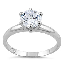 Load image into Gallery viewer, Sterling Silver Clear CZ Solitaire Engagement Ring