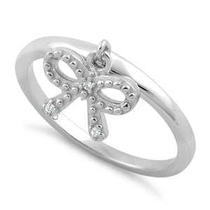 Sterling Silver Clear Dangling Ribbon CZ Ring