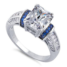 Load image into Gallery viewer, Sterling Silver Clear Emerald Cut Blue CZ Ring