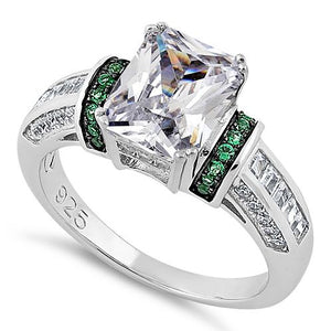 Sterling Silver Clear Emerald Cut Emerald CZ Ring
