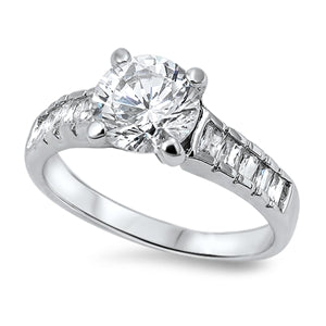 Sterling Silver Clear Engagement Ring