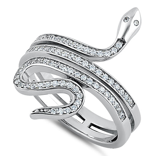 Sterling Silver Clear Eyed Snake CZ Ring