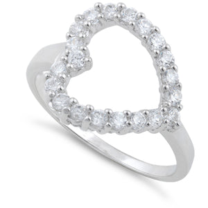 Sterling Silver Clear Heart Cut CZ Ring