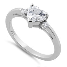 Load image into Gallery viewer, Sterling Silver Clear Heart CZ Ring