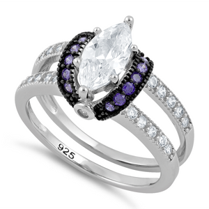 Sterling Silver Clear Marquise Amethyst CZ Black Plating Ring