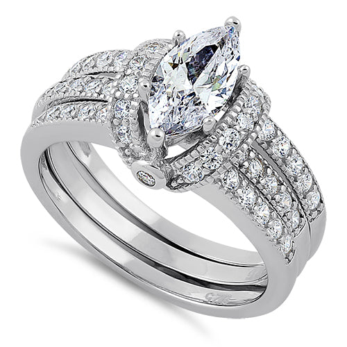 Sterling Silver Clear Marquise CZ Set Ring