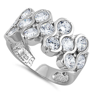 Sterling Silver Clear Pattern CZ Ring