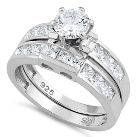 Sterling Silver Clear Round Cut Engagement Set CZ Ring