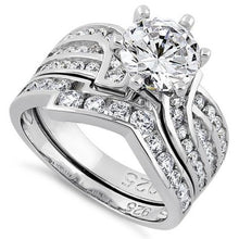 Load image into Gallery viewer, Sterling Silver Round Cut Engagement Set CZ Ring
