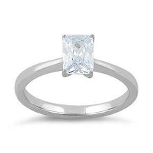 Load image into Gallery viewer, Sterling Silver Clear Radiant Cut CZ Ring