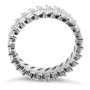 Sterling Silver Eternity Rectangle Clear CZ Ring