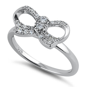 Sterling Silver Clear Ribbon CZ Ring