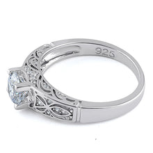 Load image into Gallery viewer, Sterling Silver Clear Round Cut Engagement CZ Ring