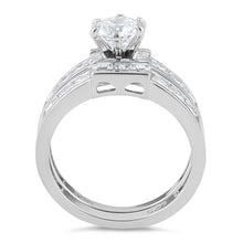 Load image into Gallery viewer, Sterling Silver Clear Round Cut Engagement Set CZ Ring