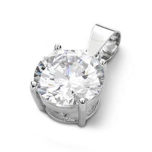 Load image into Gallery viewer, Sterling Silver Clear Round CZ 10mm Pendant