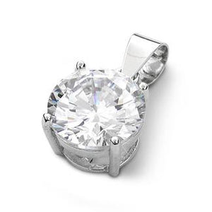 Sterling Silver Clear Round CZ 10mm Pendant