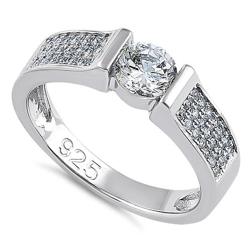 Sterling Silver Clear Round Engagement CZ Ring