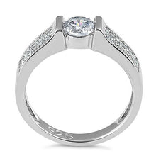 Load image into Gallery viewer, Sterling Silver Clear Round Engagement CZ Ring