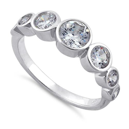 Sterling Silver Clear Seven Stone Round CZ Ring