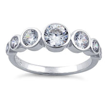Load image into Gallery viewer, Sterling Silver Clear Seven Stone Round CZ Ring