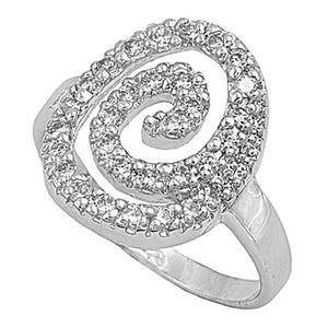 Sterling Silver Clear Swirl CZ Ring