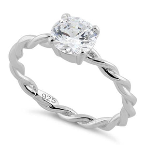 Sterling Silver Clear Twisted Band CZ Ring