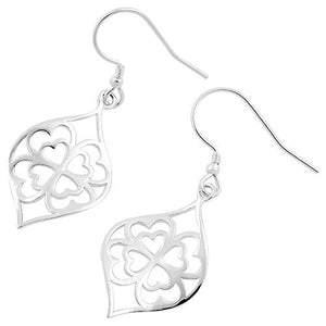 Sterling Silver Clover Hearts Hook Earrings
