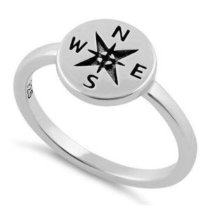 Sterling Silver Compass Ring