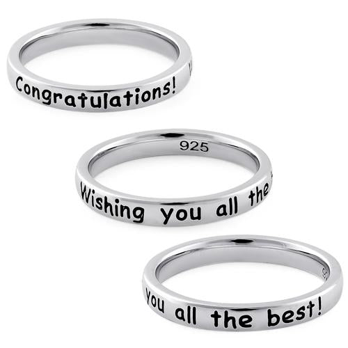 "Sterling Silver ""Congratulations! Wishing you all the best!"" Ring"