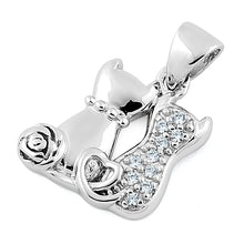 Load image into Gallery viewer, Sterling Silver Couple Cats CZ Pendant