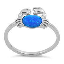 Load image into Gallery viewer, Sterling Silver Crab Blue Lab Opal Ring