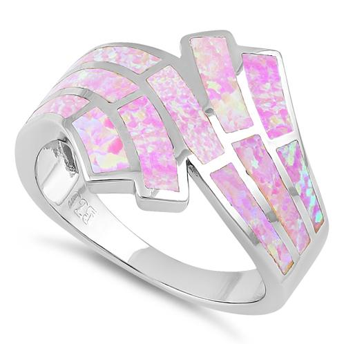 Sterling Silver Crooked Pink Lab Opal Ring
