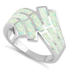 Load image into Gallery viewer, Sterling Silver Crooked White Lab Opal Ring